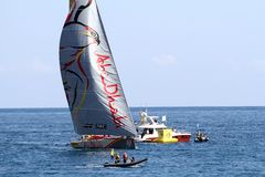 Volvo Ocean Race sailboats in race Royalty Free Stock Images