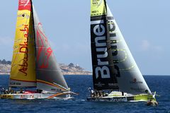 Volvo Ocean Race sailboats in race Royalty Free Stock Photography