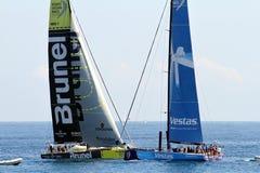 Volvo Ocean Race sailboats in race Stock Photos