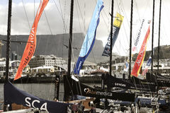 Volvo Ocean Race Sailing Fleet in Cape Town. November 15, 2014 - Cape Town, South Africa, Abu Dhabi Ocean Racing Royalty Free Stock Images