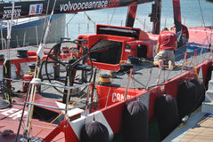 Volvo Ocean Race, team camper members in sailboat race in training days, Volvo Village Area Alicante Royalty Free Stock Photo