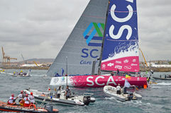 Volvo Ocean Race Team SCA Wave Goodbye Royalty Free Stock Image