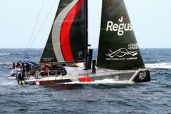 Volvo Ocean Race Team Scallywag. Team Scallywag sailing in open waters Stock Photo