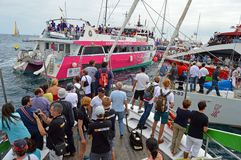 Volvo Ocean Race 2014 - 2015 A Traffic Jam Royalty Free Stock Image