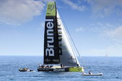 Volvo-Ozean-Rennsegelboote im Rennen Lizenzfreies Stockfoto