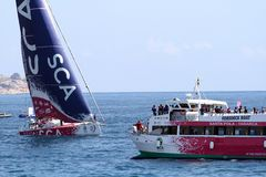 Volvo-Ozean-Rennsegelboote im Rennen Stockfoto