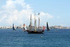 Volvo-Ozean-Rennsegelboote inport Lizenzfreie Stockfotografie