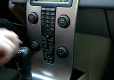 Volvo Panel. With shift gear and hand in movement royalty free stock image