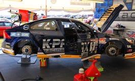 Volvo race car in garage Stock Image