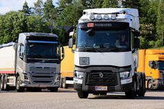 Volvo and Renault Trucks at Truck Stop Royalty Free Stock Photography