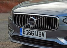 Volvo s90 d4 luxury car. Photo of a luxury volvo s90 d4 showing detail to front grille oct 2017 Stock Photos