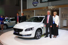 Volvo s60l phev gas-electric hybrid white car Royalty Free Stock Image