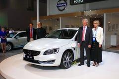 Volvo s60l phev gas-electric hybrid white car Royalty Free Stock Image