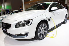 Volvo s60l phev gas-electric hybrid white car Royalty Free Stock Photography