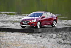 Volvo S60, floating next to the 17th green Stock Photo