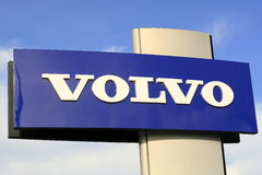 Volvo sign. On a sky background royalty free stock images