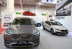 Volvo Stand at SIAB 2018, Romexpo, Bucharest, Romania. The international automobile saloon in Bucharest. XC 90 Volvo car model Royalty Free Stock Image