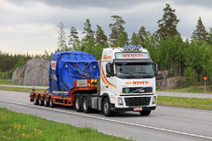 Volvo Truck Transports Industrial Object along Motorway stock image