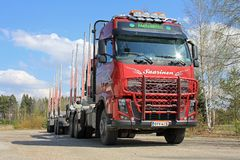 Volvo Truck and Wood Trailer Royalty Free Stock Photos