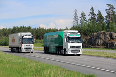 Volvo Trucks Semi Overtakes Another Volvo FH Royalty Free Stock Image