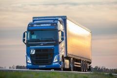 Volvo trucks. ZRENJANIN SERBIA - DECEMBER 2015: Volvo truck on the road stock image