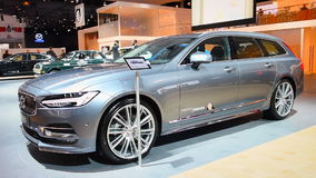 Volvo V90 luxury estate car front view stock video footage