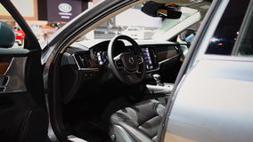 Volvo V90 luxury estate car interior and dashboard stock video