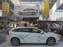 Volvo V60 self-driving car at the 2014 New York International Auto Show Royalty Free Stock Photography