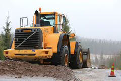 Volvo Wheel Loader at Rural Road Construction Site Royalty Free Stock Photos