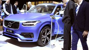 Volvo XC90 plug-in hybrid mid-size luxury crossover SUV stock footage