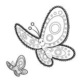 Volwassen de antispannings Kleurende Pagina van vlindermandala Royalty-vrije Stock Afbeeldingen