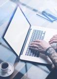 Volwassen getatoeeerde medewerker die aan laptop met het witte lege computerscherm op zonnig kantoor werken Zakenman die typen Stock Foto