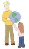 Volwassen gevend kind de wereld vector illustratie