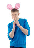 Volwassen kerel met konijnoren Stock Afbeeldingen