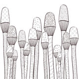 Volwassen kleurende boekpagina De magische paddestoelen tuinieren capricieus lijnart. Hand getrokken illustratie Royalty-vrije Stock Foto
