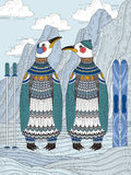 Volwassen kleurende pagina met pinguïnen Royalty-vrije Stock Foto's
