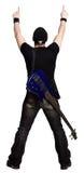 Volwassen mannetje dat met een gitaar benadrukt stock foto