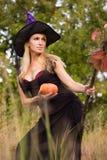 Volwassen meisje in heksenkostuum met bezemsteel Royalty-vrije Stock Foto