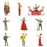 Volwassen Musici en Zangers die een Muzikaal Aantal op Stadium in Muziek Hall Collection Of Cartoon Characters uitvoeren Royalty-vrije Stock Afbeeldingen