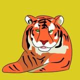 Volwassen tijgerbeeldverhaal op een witte achtergrond royalty-vrije illustratie