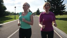 Volwassen vrouwelijke joggers die activiteit in openlucht nastreven stock video