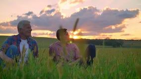 Volwassen zoonszitting met oude vader op tarwe of roggegebied en rond het kijken, ontspannend, mooie mening met binnen zonsonderg stock footage