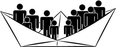 Volwassene en kinderen silhouetes in document schip, vector Stock Afbeelding