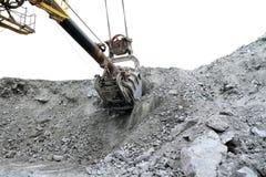 Volym av grävskopahinken 10 m3 arkivfoto