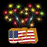 Volymetrisk 3D USA stiliserade inskriften under färgerna av flaggan på bakgrunden av fyrverkeriillustrationen Arkivbild