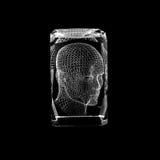 Volymetrisk laser-gravyr inom exponeringsglaset arkivfoton