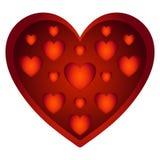 Volymetrisk röd förälskelsehjärta Arkivbild