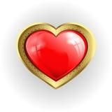 Volymetrisk röd hjärta med den guld- gränsen stock illustrationer