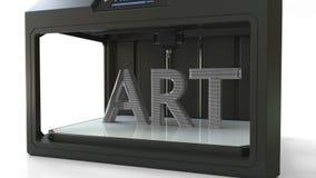Volymetrisk text för danandeKONST med en metall som skrivar ut 3D skrivaren, tolkning 3D Royaltyfri Bild