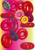 Volymetriska kulöra cirklar, textur av hjärtor vektor illustrationer